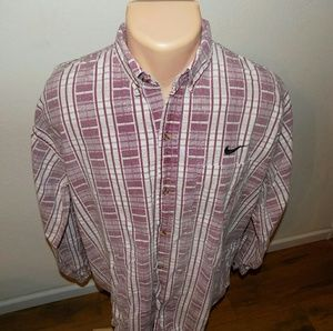 Nike | Red Plaid Checkered Long Sleeve Button Down
